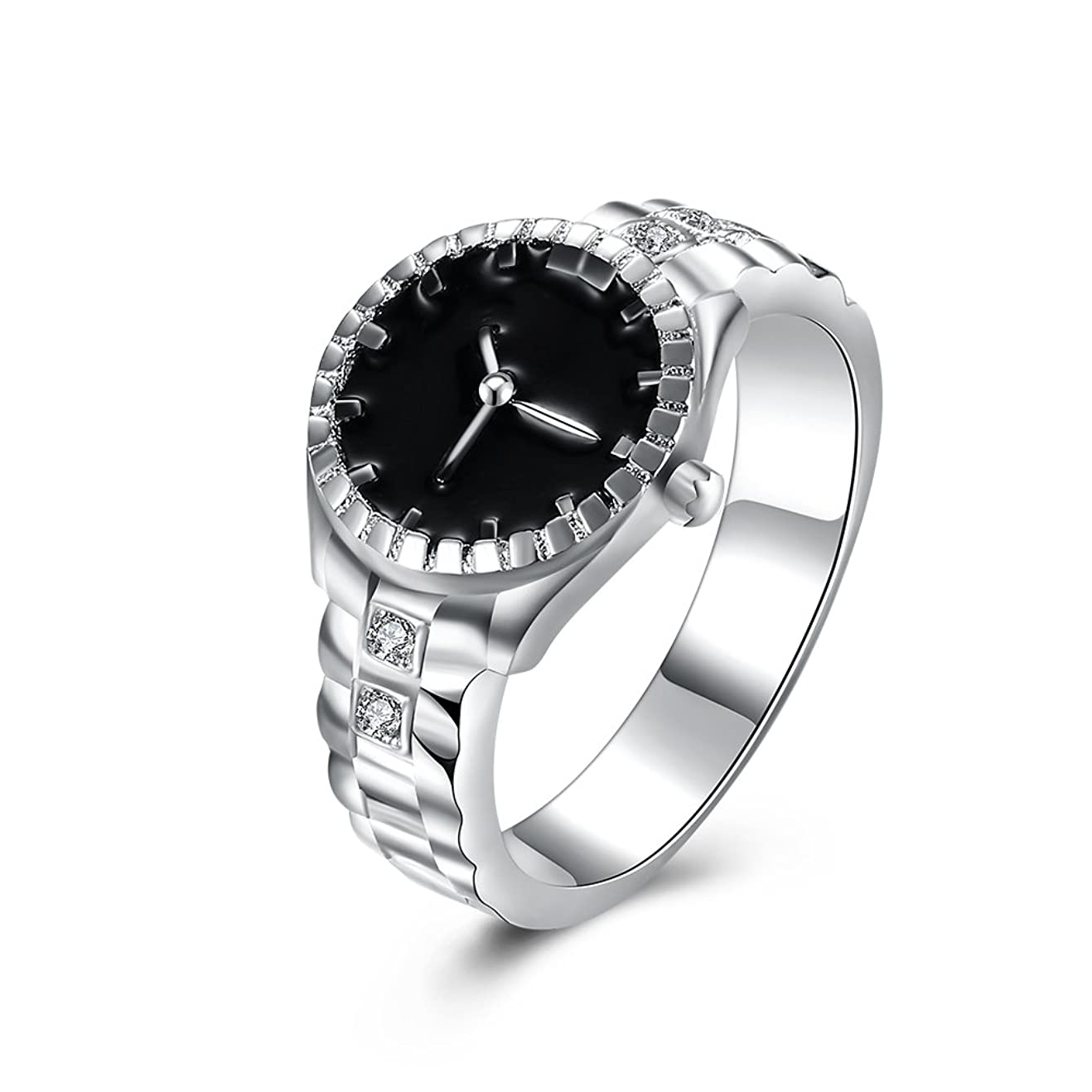 弾丸フラグラント貪欲925スターリングシルバーメッキ時計型ダイヤモンドリングファッションジュエリー周年記念ギフト (マルチカラー)