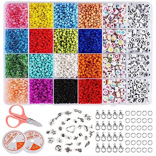 Sixome 6800 Pcs Glasperlen und 400 Stück Perlen mit Buchstaben, 3MM Rocailles Glasperlen Mini Perlen Zum Auffädeln für Kinder Armband Set Selber Machen Haarband Schmuck Basteln Bastelset (Beads-7200)