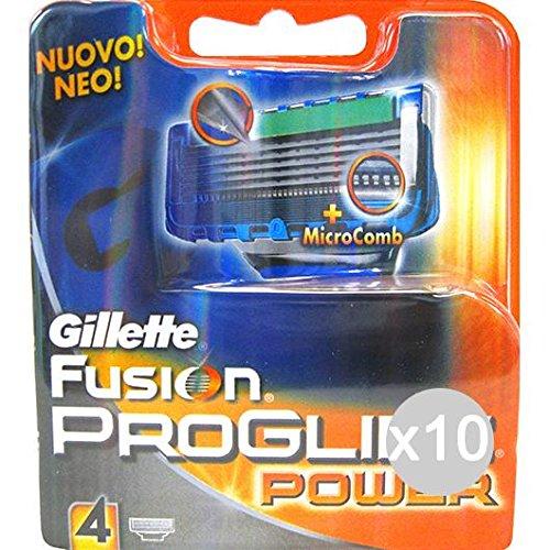 Set 10 GILLETTE Ricambi Fusion Proglide Power X4 Rasoio Rasatura Viso E Corpo