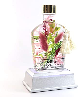 フェリナス ハーバリウム プレミアム ピンク & LED台座 (タッセル付) 敬老の日 花 ギフト 贈り物 結婚 記念日 誕生日 プレゼント whisky-pink-led