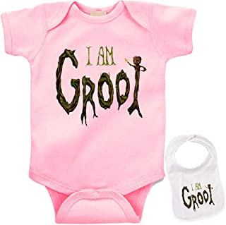 I Am Groot Custom Cute Baby Bodysuit Onesie & Matching bib