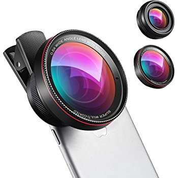 (New) Phone Camera Lens, 0.6X Super Wide Angle Lens, 15X Macro Lens, 2 in 1 Clip-On Cell Phone Lens Kit for iPhone, Samsung, Other Smartphones
