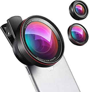 Phone Camera Lens, 0.6X Super Wide Angle Lens, 15X Macro Lens for iPhone Lens Kit, 2 in 1 Clip-On Cell Phone Camera Lens f...