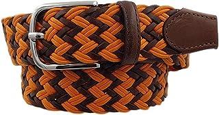 ESPERANTO Cintura intrecciata con treccia cotone e cuoio, puntali vera pelle e fibbia nichel free anallergica 3,5 cm - TAG...