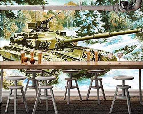 WYH-YW Kundenspezifische Tapete Handgemalte europäische und amerikanische Retro-Panzer-TV-Hintergrund-Wandmalerei-Dekoration-Tapete 3D 150cmx105cm(B×H)
