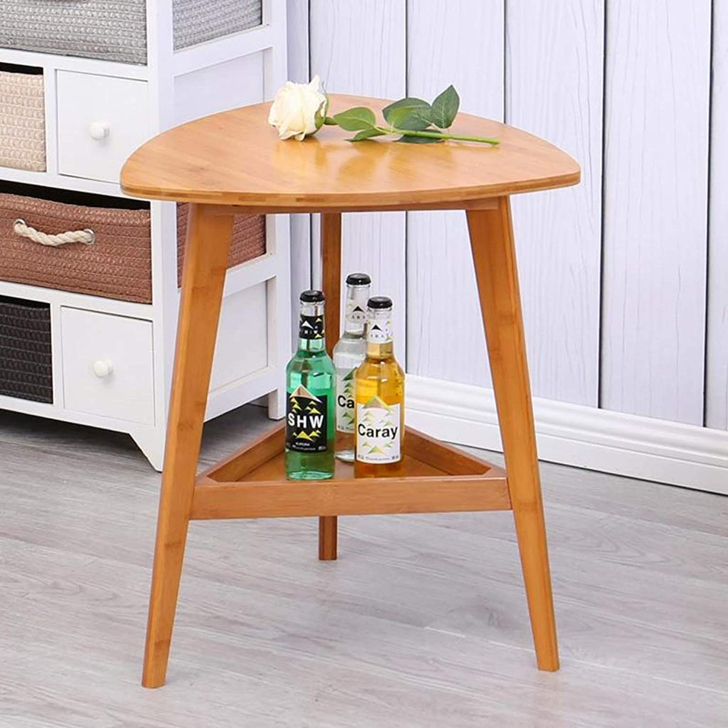 End Table, Double-Layer Triangular Solid Wood Sofa Side Table Coffee Table Small Living Room Table