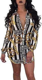 Remelon Womens Floral Print Button Down Collar Long Shirt Dress Blouse Mini Dress