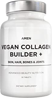 Amen Plant-Based Vegan Collagen Builder + - Organic Whole Foods, Silica, Lutein, Vitamin C, Biotin, Grape Seed - Amino Acids Glycine, Lysine + Proline Collagen Boosters - Once A Day - 30 Tablets