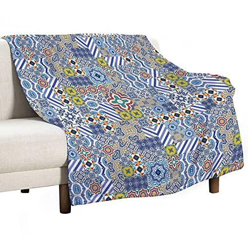 Manta – Surtido de patrones geométricos de Marruecos Culturas Portugueses Manta ligera para sofá, cama, camping, viajes, manta de franela suave y acogedora, regalos de Acción de Gracias, 125 x 150 cm