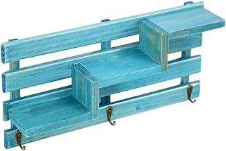 Amuzocity Aan de muur bevestigde hoofdingang organizer display rek tandstang met 3 sleutelhaken - blauw