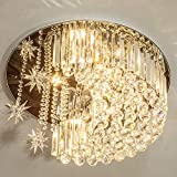 Modern K9 Crystal Moon Star Chandelier Lighting with Remote ,Flush Mount LED Ceiling Light Fixture Pendant Lamp for Dining Room Bedroom Living Room Width 23.6inch