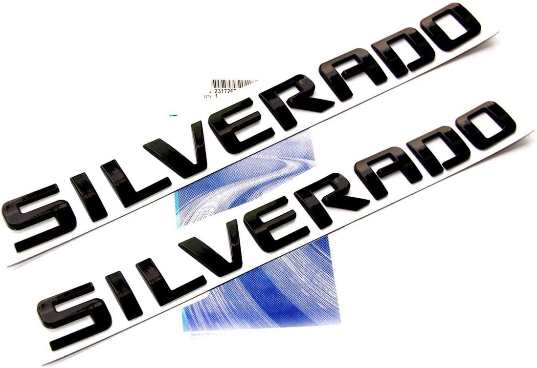 Yoaoo 2x Attention brand OEM Black Silverado Emblem 3D R Letters Houston Mall Nameplate Badge