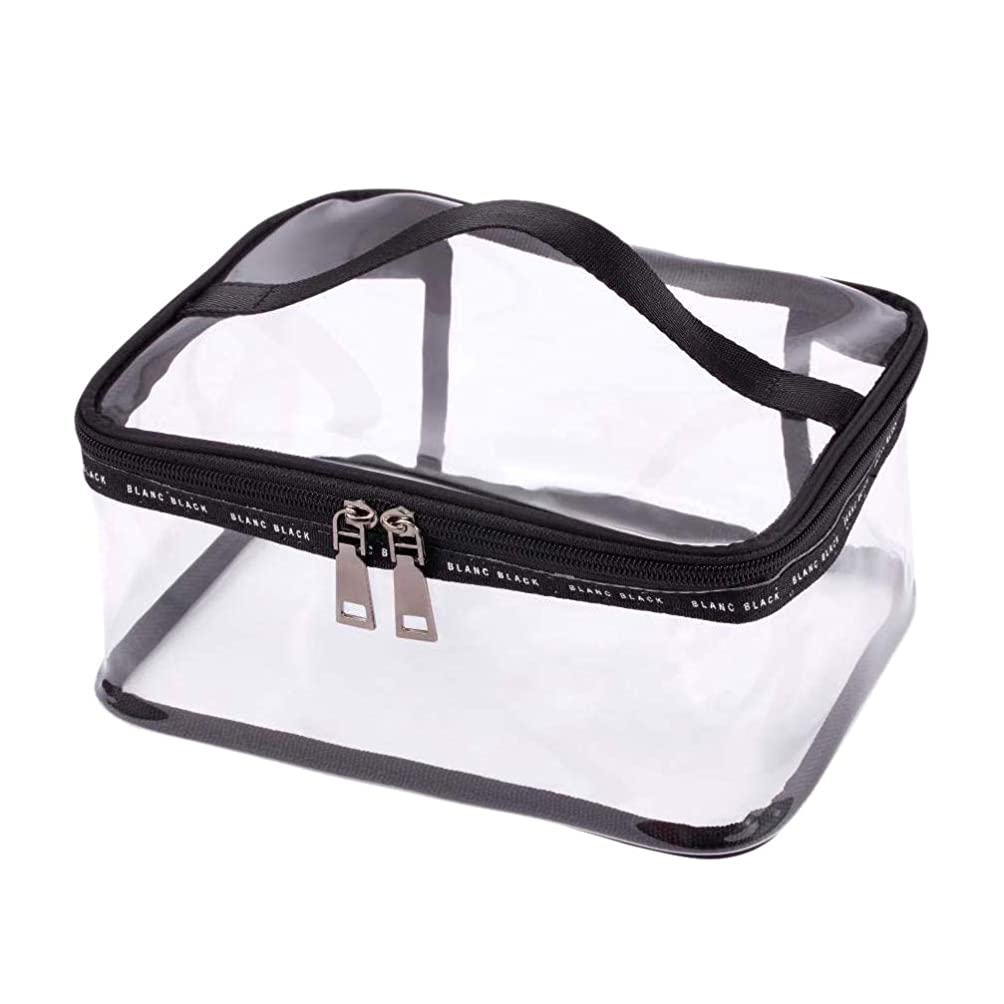 同封するカブ分析SODIAL ポータブルクリア化粧バッグジッパー防水透明旅行収納ポーチ化粧品トイレタリーバッグ、ハンドル付き(2個入り)ブラック-M