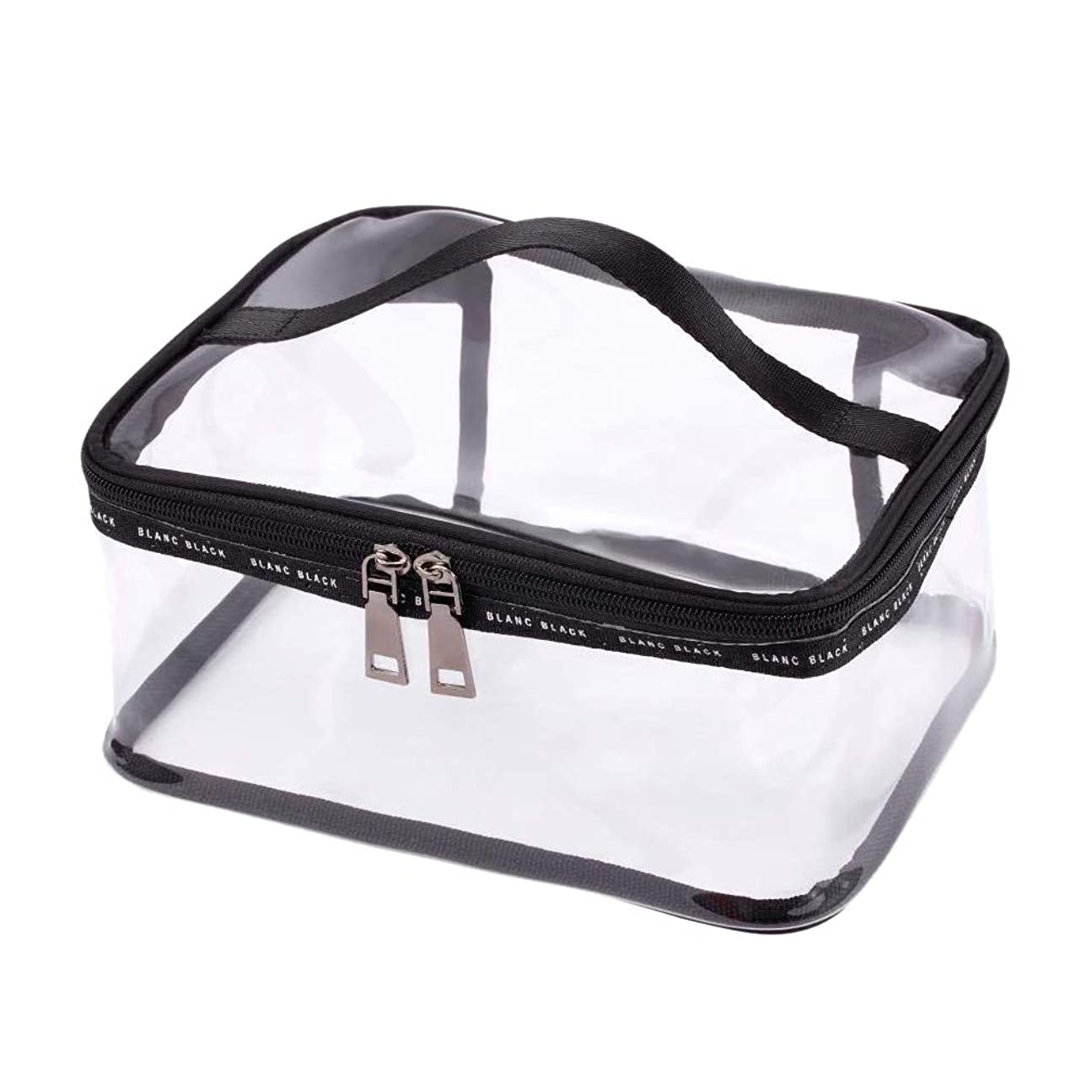 年次なめらか年次SODIAL ポータブルクリア化粧バッグジッパー防水透明旅行収納ポーチ化粧品トイレタリーバッグ、ハンドル付き(2個入り)ブラック-M