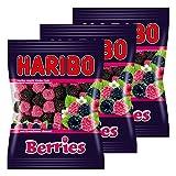 Haribo Berries, Lot de 3, caoutchouc–Babyours–Vin en caoutchouc, Fruit caoutchouc en sachet, Pochette