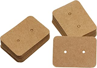Shapenty 50PCS Small Blank Kraft Paper Ear Studs Earring Display Cards Price Label Tag Jewelry Cards Holder, 3.5 x 2.5cm B...