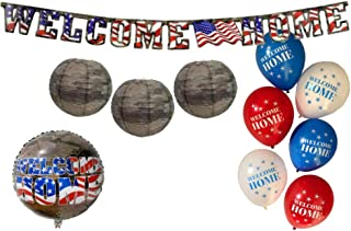 Welcome Home Military Party Decorations: Bundle Includes Welcome Home Mylar Balloon, Welcome Home Banner, Camo Paper Lanterns, and Welcome Home Latex Balloons in an American Heroes Design