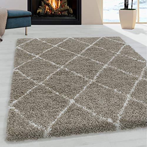 Ayyildiz Wunderschöne Shaggy Hochflor Langflor 30mm Shaggy Teppich Gemusterte Bordüre, Größe:120 x 170 cm, Farbe:Beige