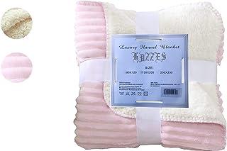 Hazzes Home® Mantas Raya de Franela Sherpa - Tela de Cepillo Extra Suave, Súper cálida, Manta de sofá acogedora y Ligera, Cuidado fácil … B07RJGTSFK (90x120cm, Rosa)