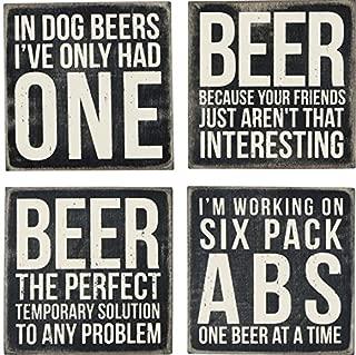 Primitives By Kathy 23731 Drink Coasters, Set of 4, Wood - Beer