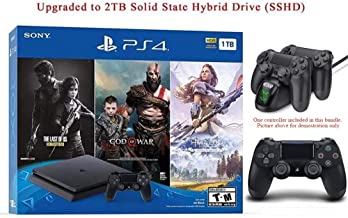 $399 » 2019 Newest Playstation 4 Holiday Bundle HESVAP Upgraded 2TB SSHD on Playstation PS4 Console Slim Bundle-Included 3X Games (The Last of Us,God of War,Horizon Zero Dawn) W/HESVAP Charging Station Dock