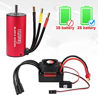 Crazepony-UK BL3674 Brushless Motor 2250KV RC Car Waterproof Sensorless and 80A ESC Eletronic Speed Controller Combo Shaft 5mm for 1:8 RC Car Only 2S Lipo