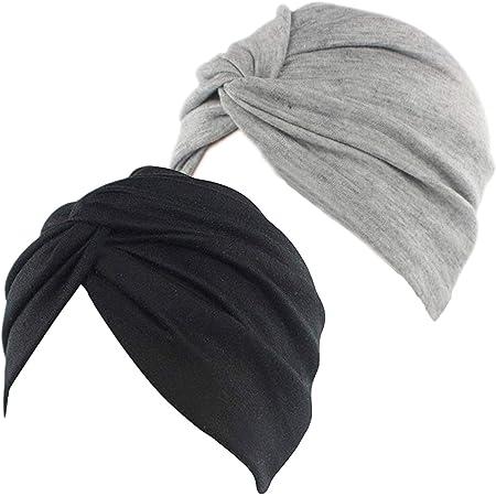 2 Pi/èces /Écharpe de T/ête en Satin Doux Bonnet de Sommeil Headwear Turbans de Couvre-Chef pour Femme Jeu 3