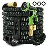 Garden Hose Expandable 100ft, Self-Locking Leakproof Water Hose With 10 Function Spray Nozzle,Heavy Duty Flexible Hose,3/4' Solid Brass Connectors,Lightweight No-Kink Flexible Water Hose(100ft)
