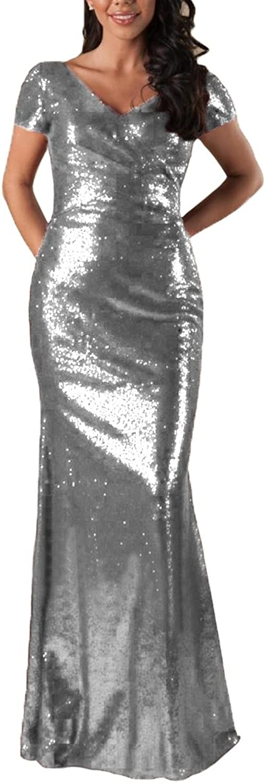 JINGDRESS Women Sparkly Maxi Mermaid Dresses Sequins V Neck Cap Sleeve Floor Length