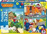 Schmidt Spiele Benjamin The Elephant Puzzle 56207, blau, In Aktion, 3 x 24 Teile