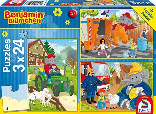 Schmidt Spiele 56207 Benjamin Blümchen, In Aktion, 3 x 24 Teile Kinderpuzzle