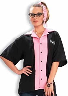Women's Flirting with The 50's Queen Pinks Bowling Shirt Costume