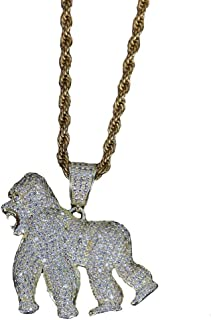 Hip-hop 14K Jewelry Roaring Walking Gorilla Copper Zircon Pendant Necklace