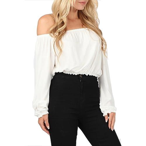 e6eb49fd0df607 Fashion Women Ladies Celebrity Off Shoulder Bardot Gypsy Crop Tunic Top  Blouse Stretch