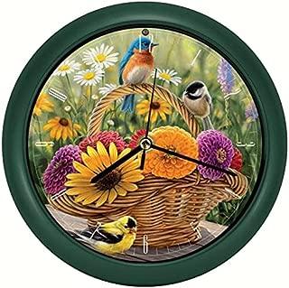 Mark Feldstein & Associates Rosemary Millette Summer Bouquet Clock with Original Bird Sounds, 8