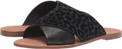 Ocean/Black Flocked Leopard Suede