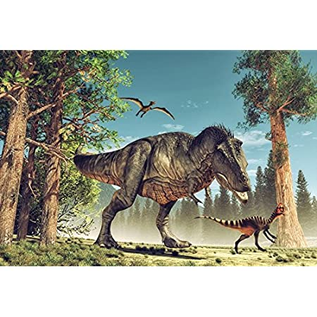 CdHBH 7x5ft Jurassic Period Dinosaur Backdrop Park Attack Wildlife Backdrops for Photography Blue Sky White Cloud Families Mother Dinosaur Background Studio Props