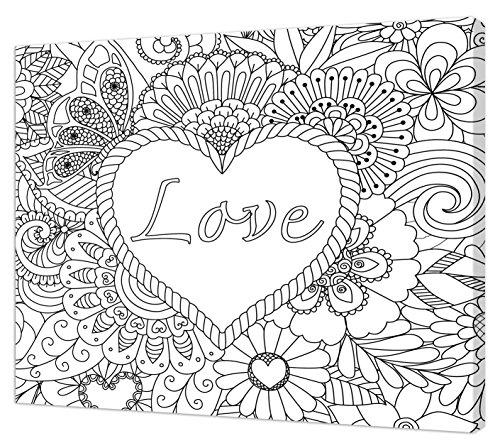 Pintcolor 7177.0Leinwand Bedruckt zum Ausmalen, Tannenholz/Baumwolle, Weiß/Schwarz, 50x 40cm