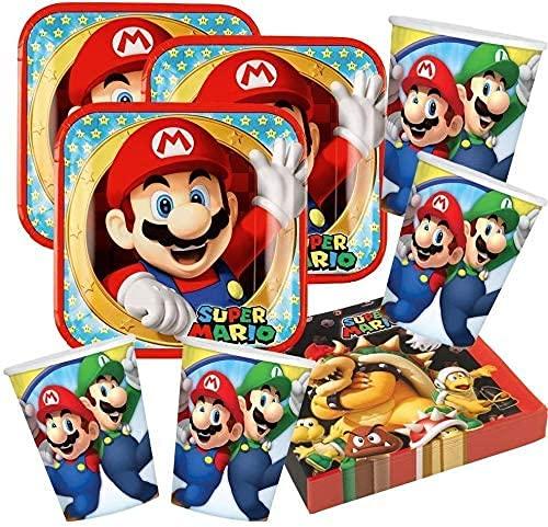 Kit de fête Supermario, table coordonnée, décoration de fête, set d'anniversaire avec 8 assiettes de 23 cm, 8 verres et 20 serviettes (Super Mario, lot de 8 personnes)
