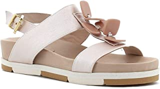 Pierfrancesco Vincenti Made in Italy Donna Sandalo in Pelle con Bottoni (Beige)