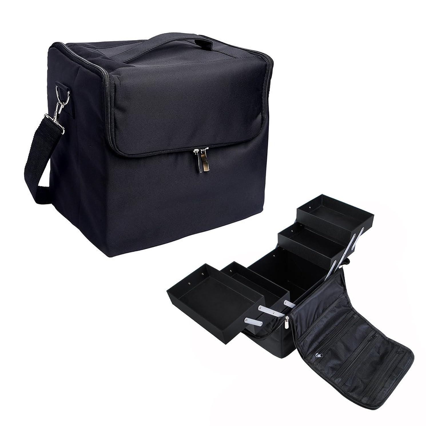 乗ってこれまで定期的に[プロ仕様]Hapilife メイクボックス トレイ付き プロ用 化粧品収納 ブラック