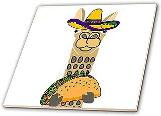3dRose Funny Cute Llama Wearing Sombrero and Eating Taco Cartoon Tile, 4 x 4