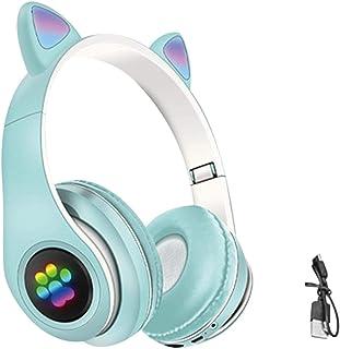 beiyoule Auriculares para niños, auriculares Bluetooth con orejas de gato que limita el volumen de 85 dB; soporte para llamadas de voz, mp3 enchufables, auriculares inalámbricos para niños con micrófono para iPhone/PC/TV