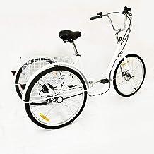 26 inch driewieler voor volwassenen, driewieler voor volwassenen, fiets, 6 gasten, 3 wielen, winkelmandje, wit, belasting ...
