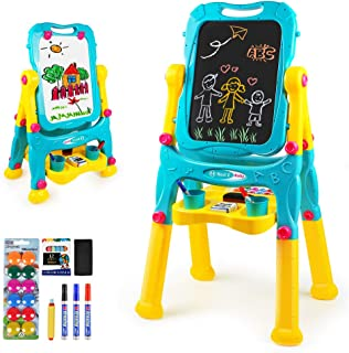 Tomons Adjustable Height Kids Easel, Double Sided Whiteboard & Chalkboard Standing Easel for Kids Toddlers Boys Girls
