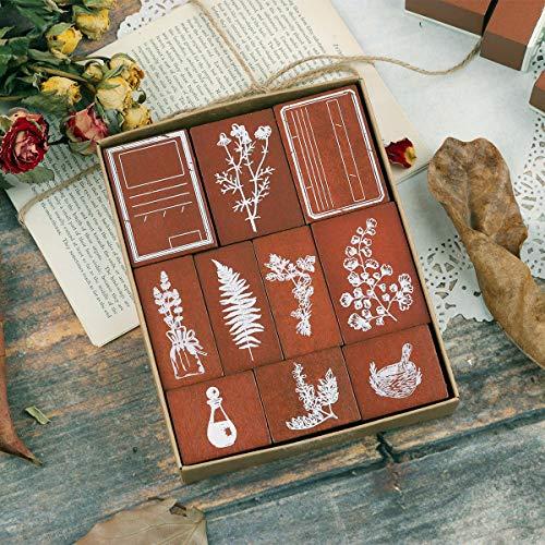 Lychii Holzstempel zum Basteln, 10PCS Vintage Holz Gummidichtung mit Naturpflanzen und Etiketten Mustern, Montierte Briefmarken für Heimwerker, Zeitschriften, Tagesplaner, Geschenkverpackungen