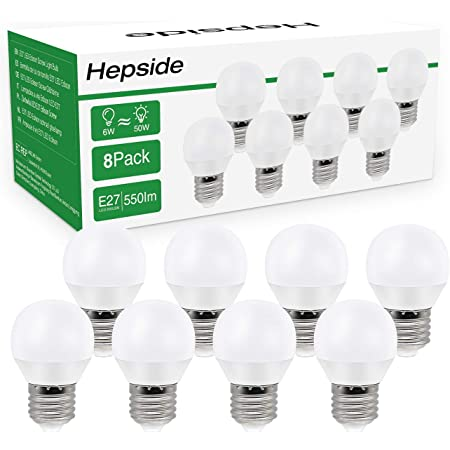 [Lot de 8]Ampoule LED E27 Globe G45 Culot (Grosse Vis),Hepside E27 Led Blanc Chaud 3000k,6W (équivalent Ampoule Halogène 60),550LM Ampoules,Lampe 220-240V,Angle de Diffusion 270°,Non Dimmable