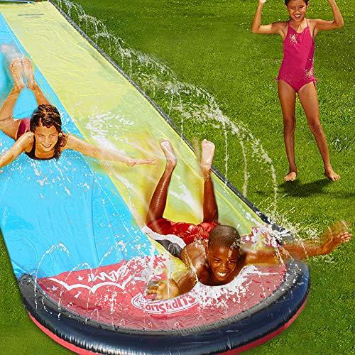 Ice Breaker Water Slide Doppel Wasserrutschbahn mit Surfboard Wasserrutsche Rutschbahn Inkl Wassersprüher Sprühfunktion Zum Anschluß an Gartenschlauch 480 * 140CM