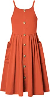 Jxstar Girls Summer Dresses Strap Button Up Pleated Waist Casual Dress with Pockets