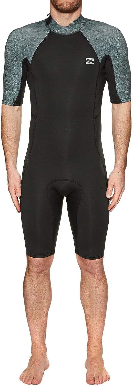 BILLABONG Mens 2mm Furnace Absolute Back Zip Shorty Wetsuit Grey HeatherThermal Warm Heat Layer Layers Furnace Lining